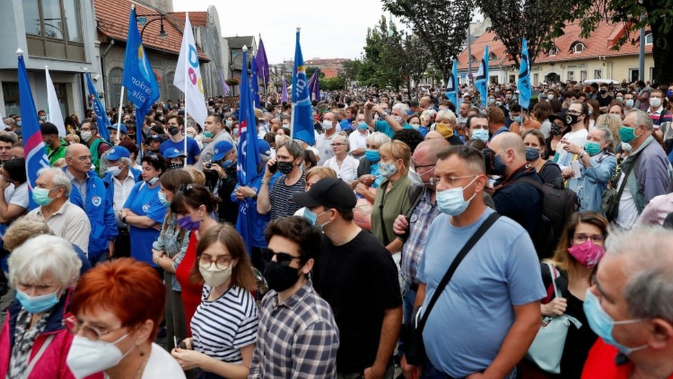 People take part in a protest for media freedom after the editor-in-chief of Index was fired, in Budapest, Hungary, July 24, 2020.