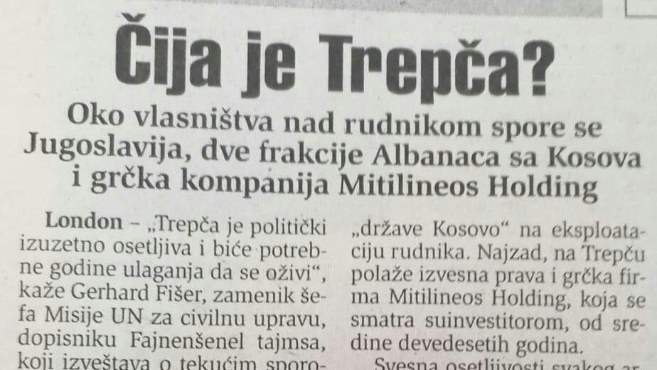 Kako je i pre 20 godina Trepča bila političko pitanje? 1