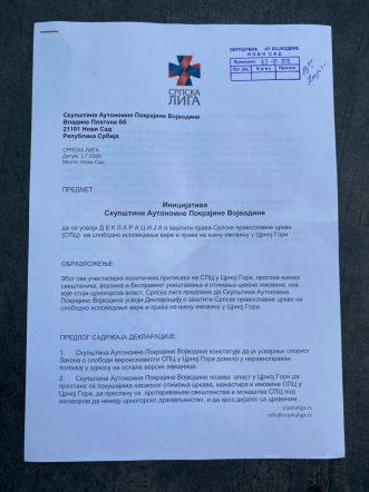 Srpska liga podnela inicijativu za usvajanje Deklaracije o zaštiti prava SPC u CG 2
