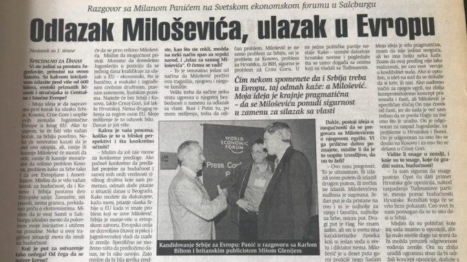"""Milan Panić pre 20 godina imao ideju o """"spasavanju"""" Srbije i njenog predsednika 1"""