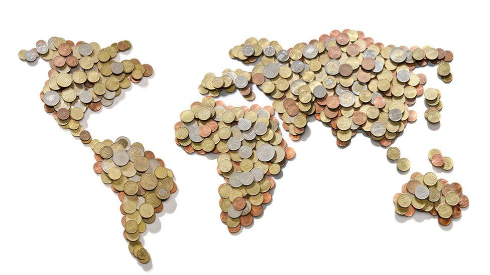 mapa sveta od kovanica