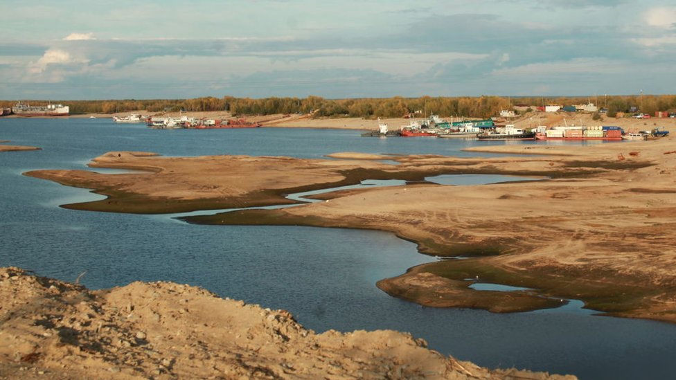 The Lena River with low water levels in Yakutsk, Yakutia, Russia, due to a heatwave