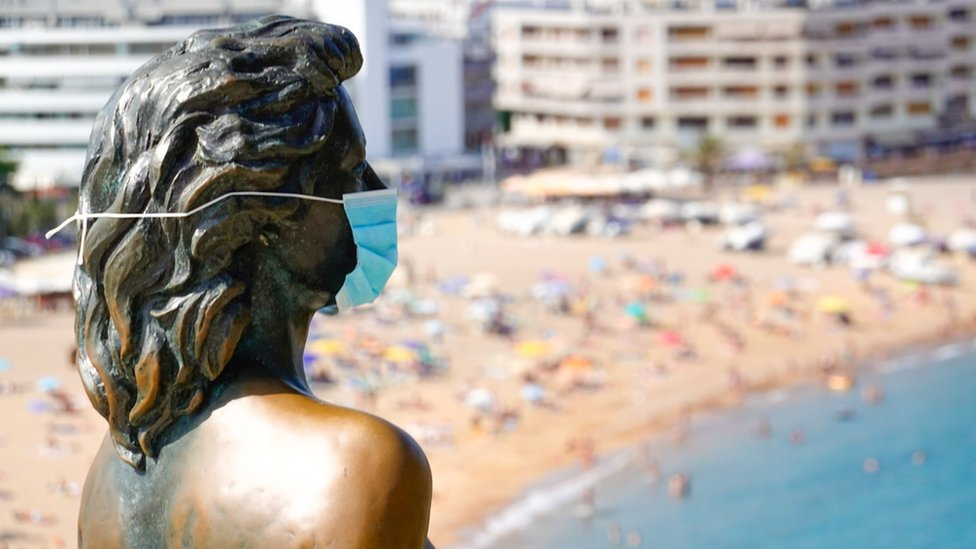"A view of Ava Gardner""s statue wearing a protective face mask in Girona, Spain"