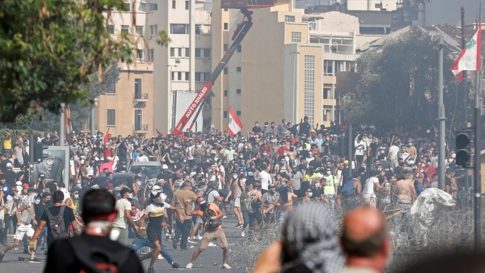 Beirut clashes four days after the devastating blast at the port, 8 August 2020