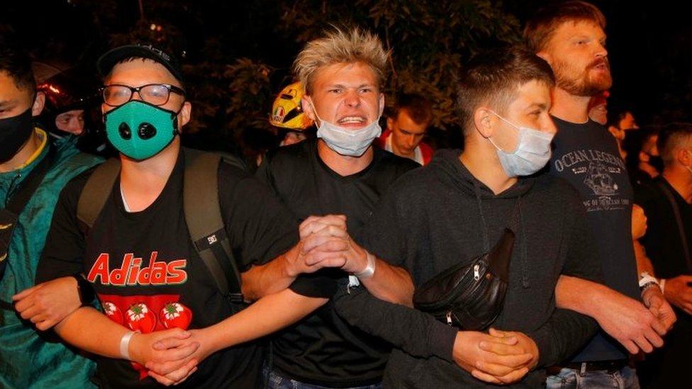 Demonstranti u Minsku, 9. avgust 2020.
