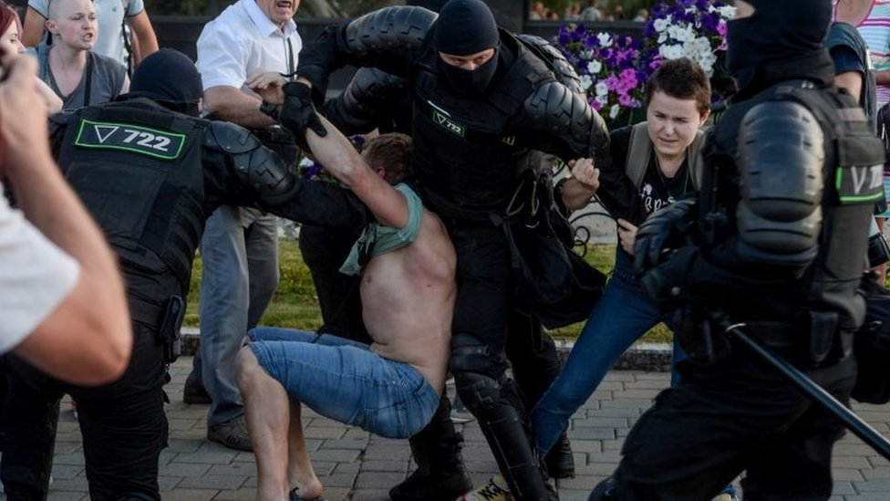 Riot police detain a protester in Minsk, Belarus. Photo: 10 August 2020