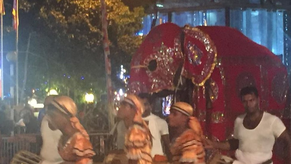 A decorated elephant surrounded by a dancing troupe in Colombo, Sri Lanka