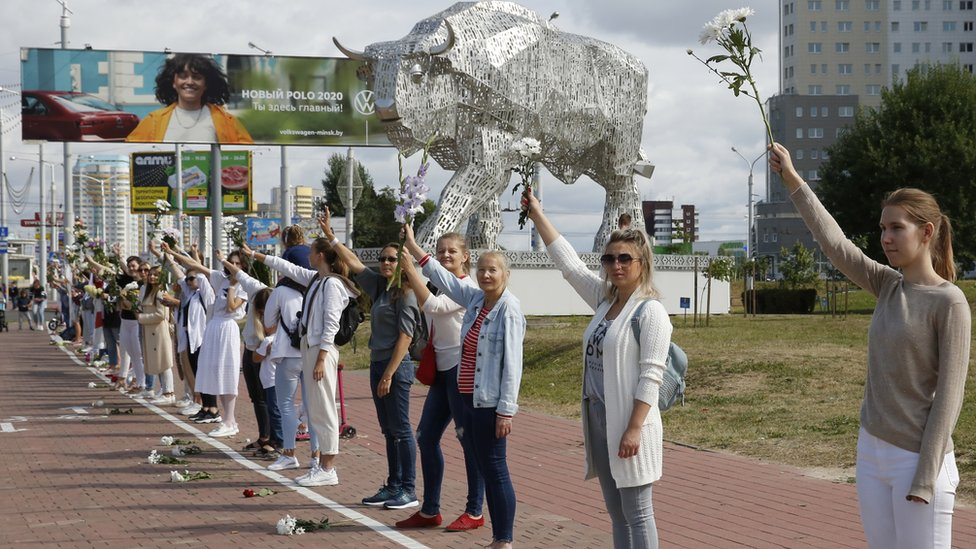 Women rally in support of detained and injured protesters in Belarus