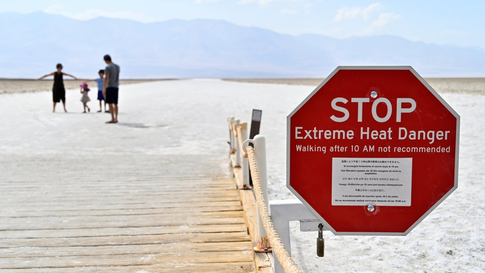 A sign at Badwater Basin in Death Valley National Park