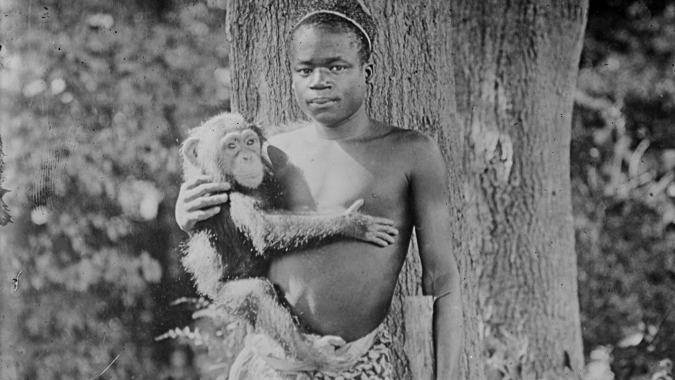 Ota Benga pictured holding a monkey in the US