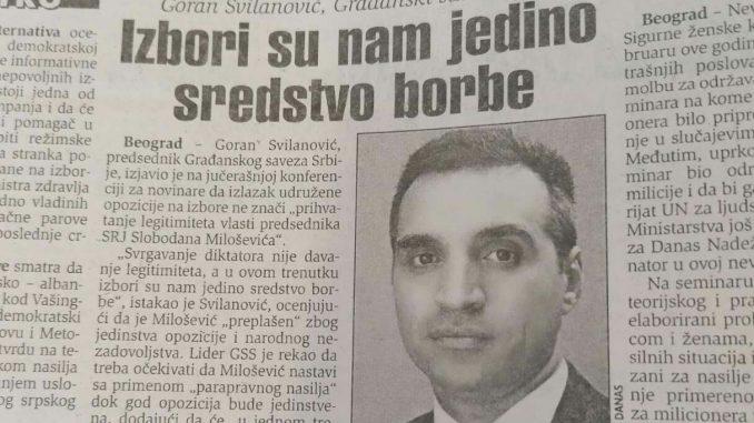 Šta su pre 20 godina zagovarali GSS i Goran Svilanović? 1