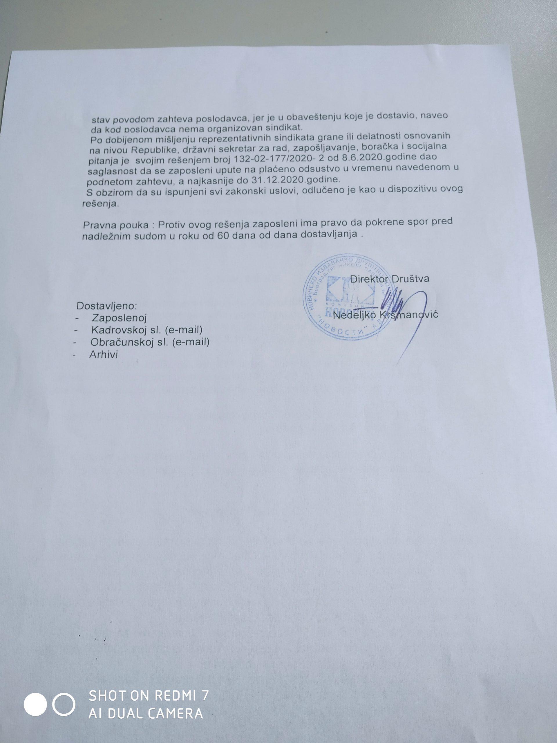 Novinarka Novosti: Vučelić nije u pravu kad tvrdi da se novinari ne šalju na prinudni odmor 3