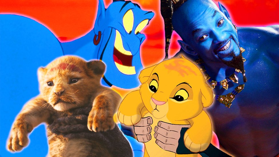 The Simba and the Genie from the originals and remakes of The Lion King and Aladdin