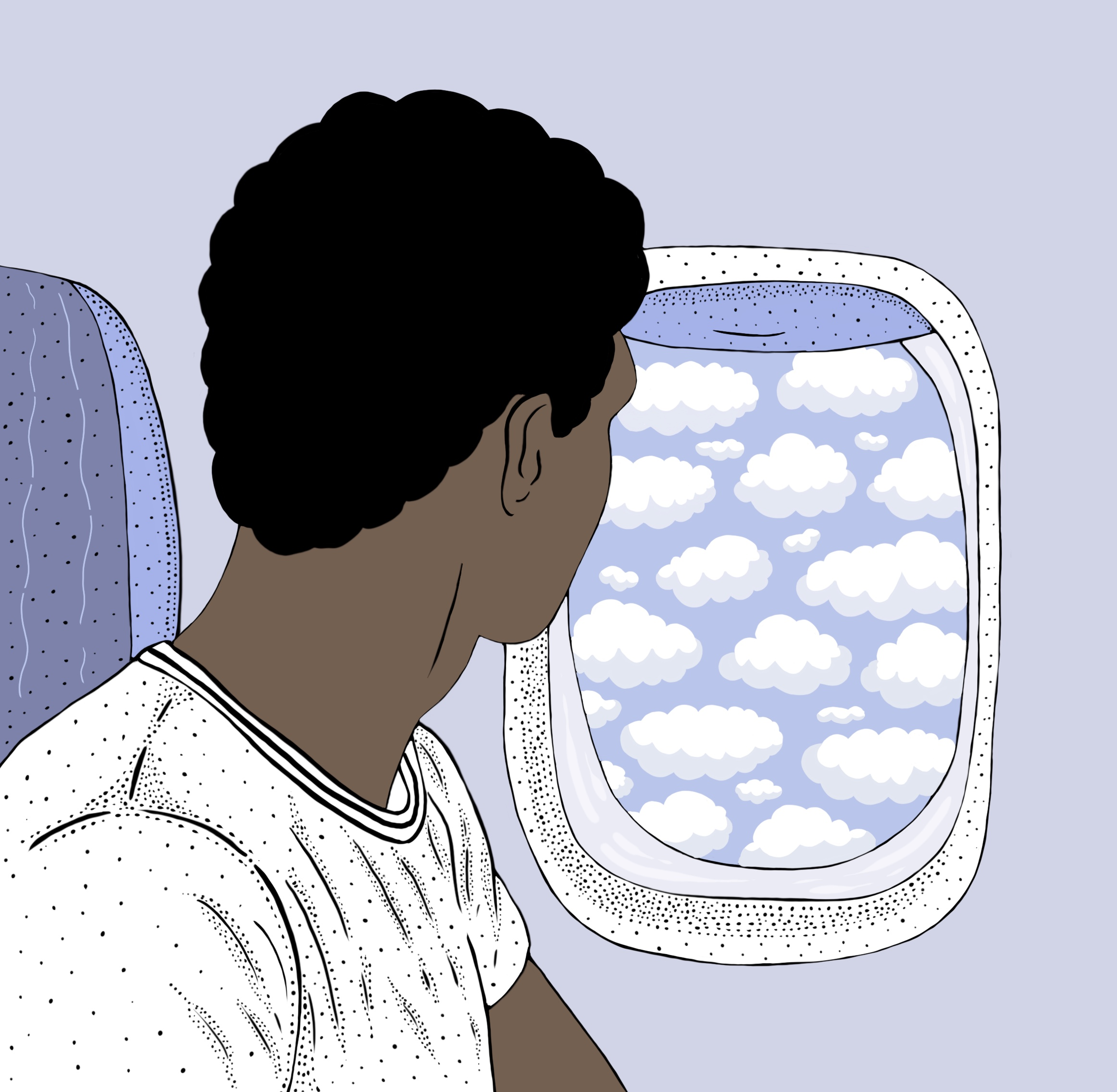 Young man looking out of aeroplane window