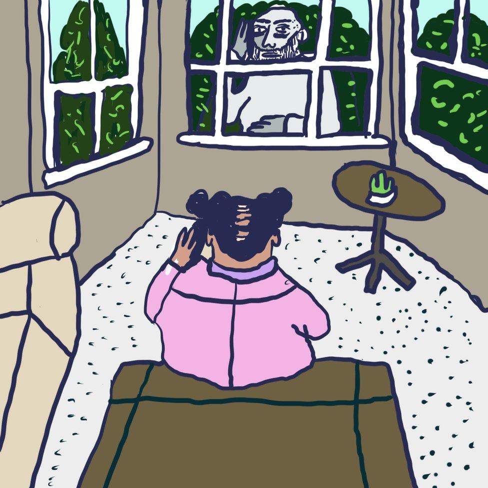 Ilustracija: Monik telefonom razgovara sa prijateljem koji je ispred njenog prozora