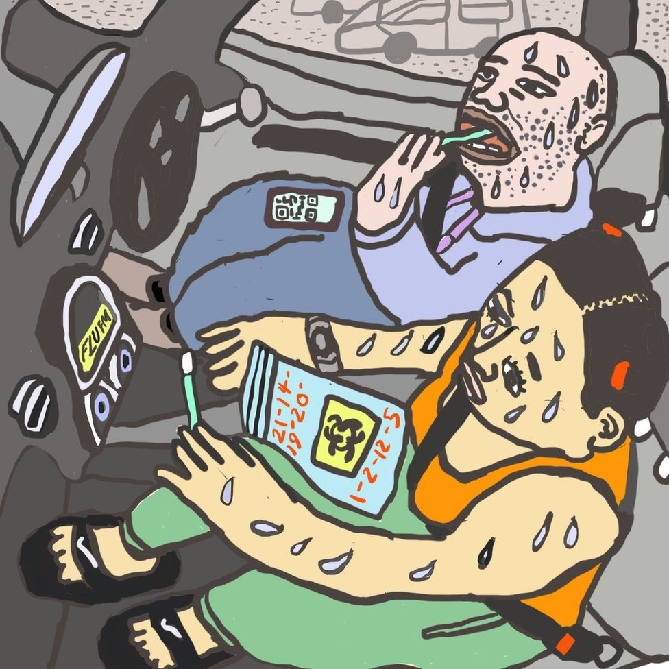 Ilustracija: Monik sa prijateljem u kolima čeka na test