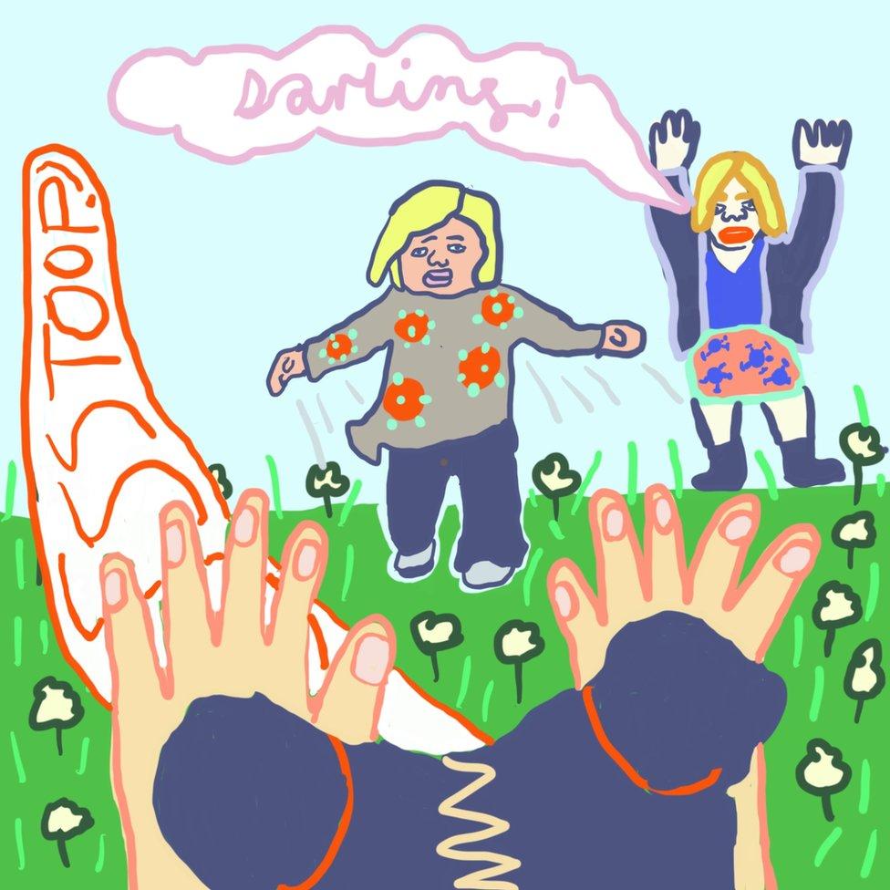 Ilustracija: Monik viče na dete koje trči ka njoj u parku