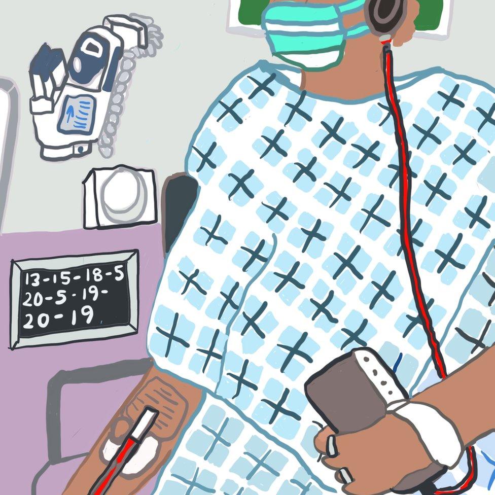 Ilustracija: Monik na respiratoru