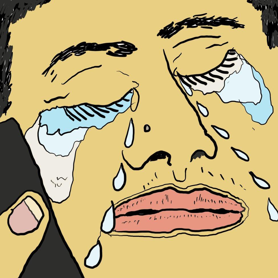 Ilustracija: Monik plače na telefon