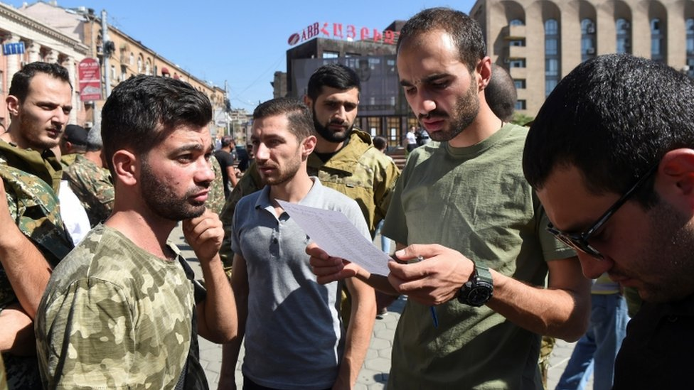 Recruitment meeting for the Armenian armed forces
