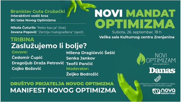 """Tribina """"Zaslužujemo li bolje?"""" Novog Optimizma večeras u Zrenjaninu 5"""