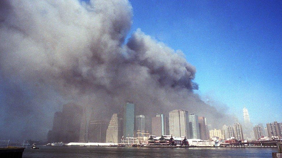 Panoramic image of the 9/11 attacks in Manhattan, New York