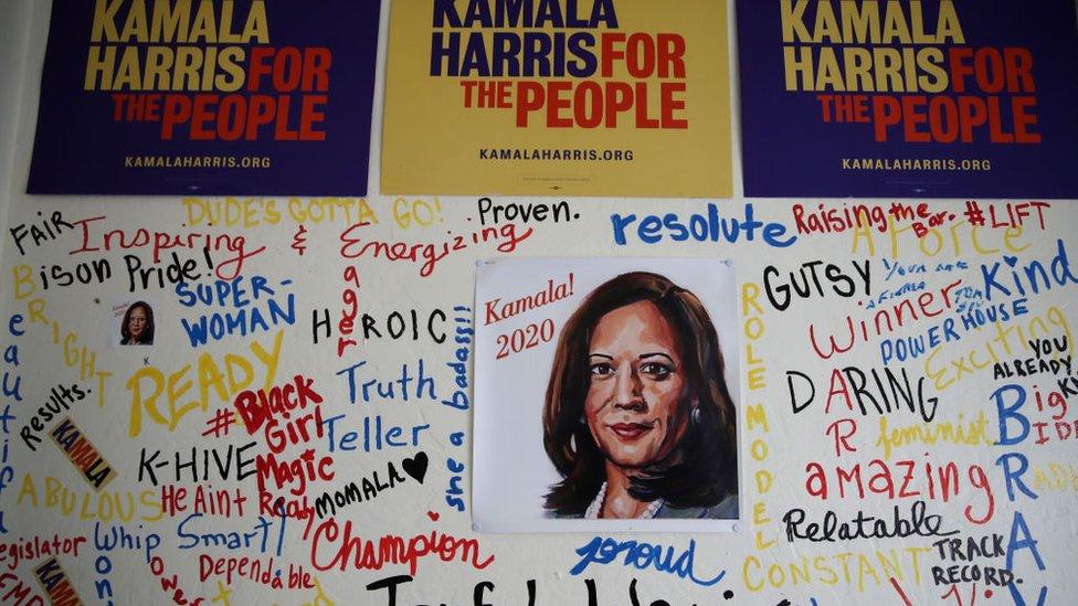 Kamala Harris campaign signs