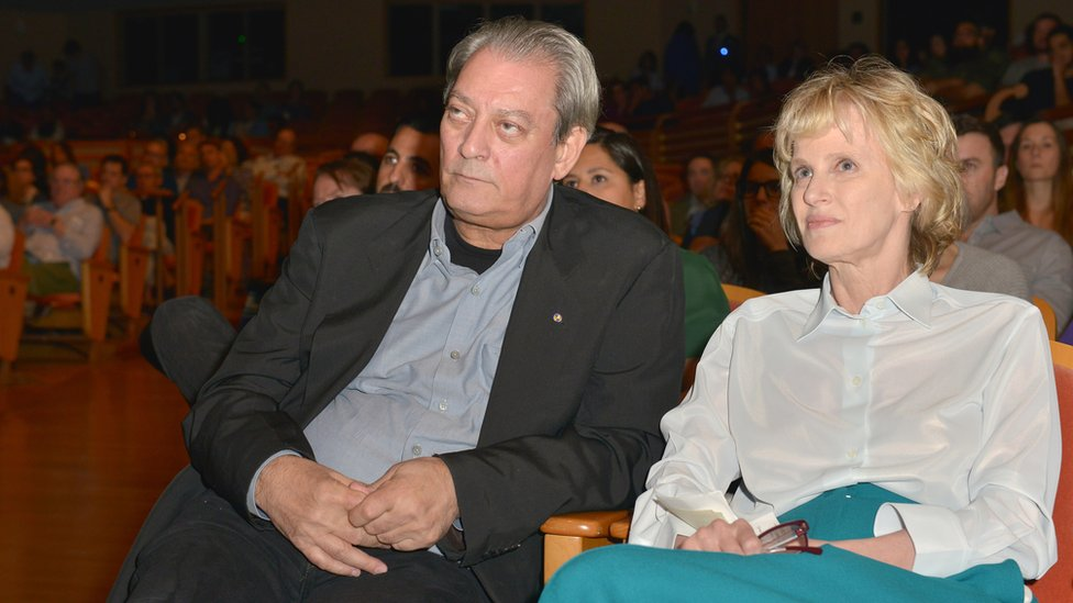Paul Auster and Siri Hustvedt, at an event.