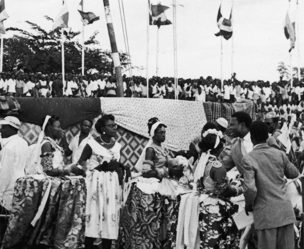 A cultural troupe performs during celebrations to mark Nigeria's independence in 1960