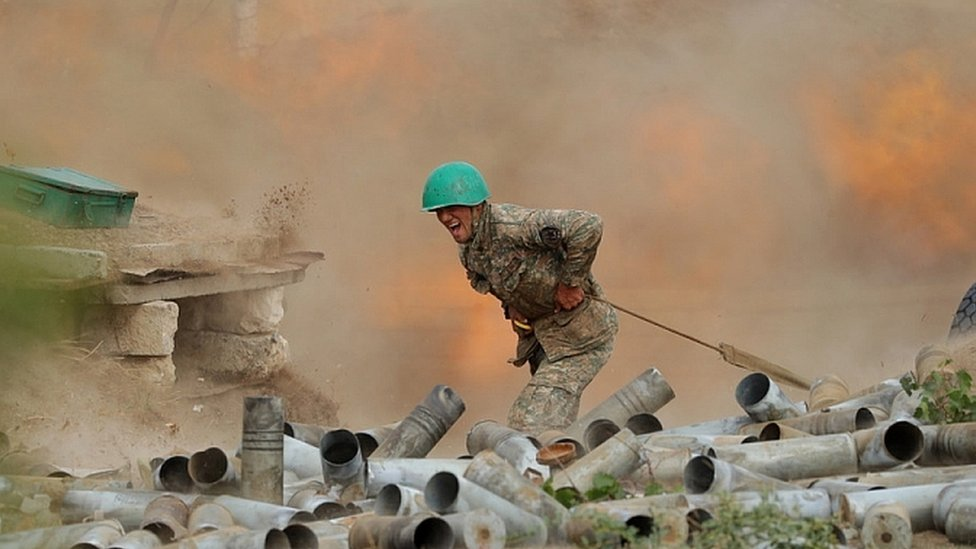 Armenian Defence Ministry photo shows Armenian soldier during clashes with Azeria forces. 30 Sept 2020