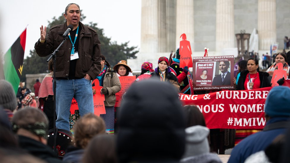 Mark Charles speaks at an indigenous people's march in Washington DC