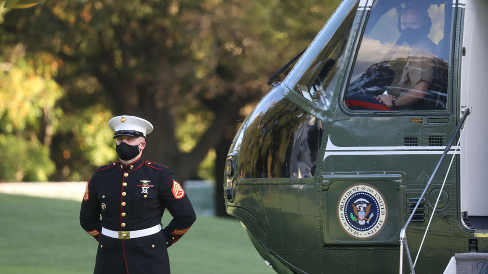 Marine One helicopter on White House lawn