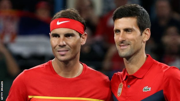Rafael Nadal and Novak Djokovic before their last meeting at the ATP Cup in January