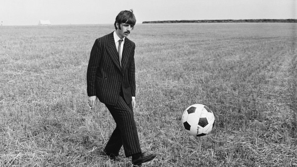 Beatles drummer Ringo Starr plays with a ball during the shooting of the group's 1967 documentary Magical Mystery Tour