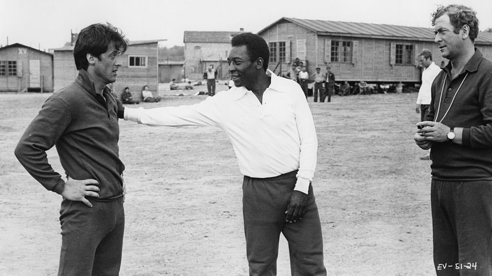 Sylvester Stallone (left), Pele and Michael Caine during the shooting of 1981 movie Escape to Victory