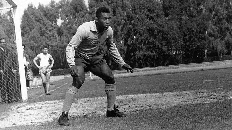 Pele as a goalie in a Brazilian team training session in 1966