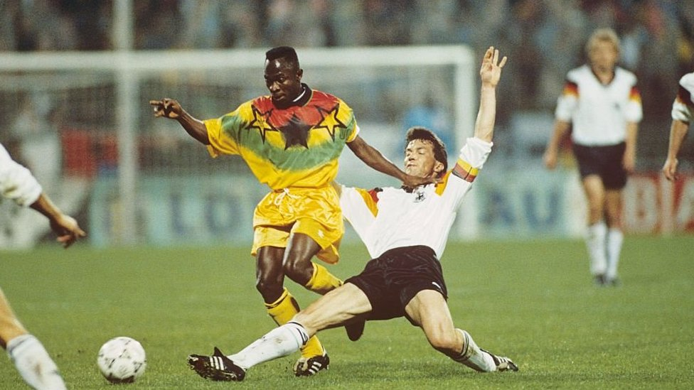 Abedi Pele in a Ghana v Germany friendly in 1993