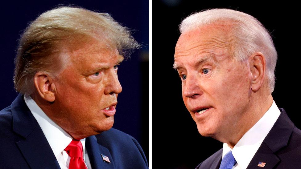 Composite image of Donald Trump and Joe Biden debating