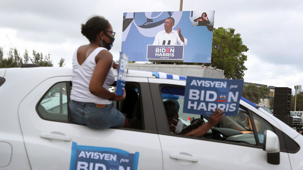 Obama stumped for Biden at a drive-in rally
