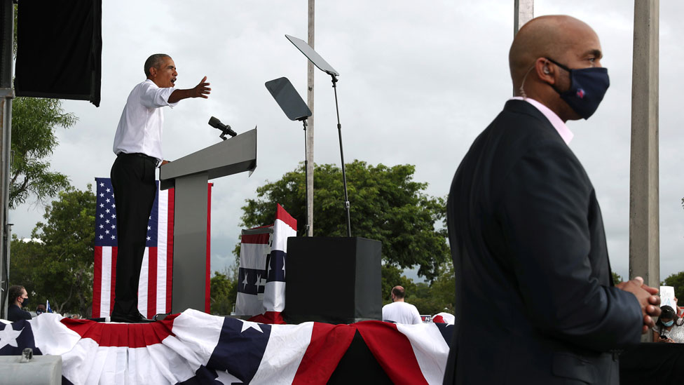 Obama speaks for Biden at a drive-in rally