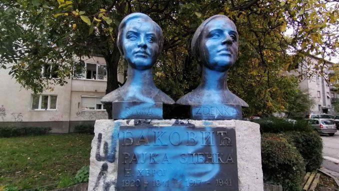 Drugi put oskrnavljen spomenik narodnim herojima, sestrama Baković u Nišu 1