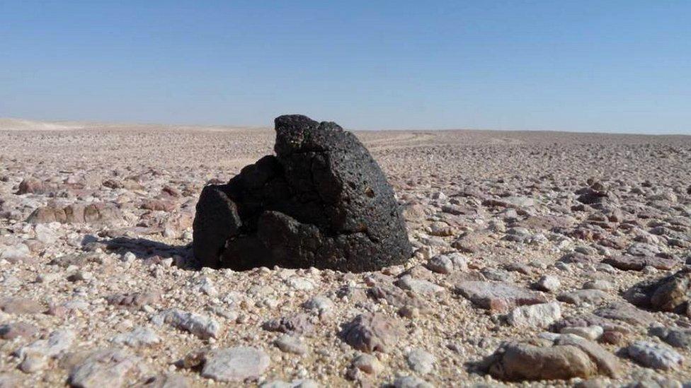 Black rock found in the desert