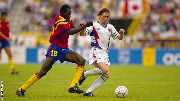 Dragan Stojkovic in action against Colombia during the 1990 World Cup