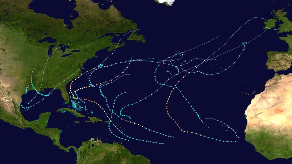 Putanje uragana severno od Atlantika, 2019.