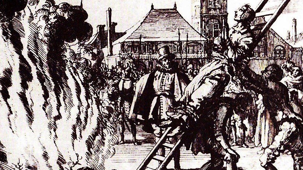 The burning of a witch in Holland, 16th Century Amsterdam