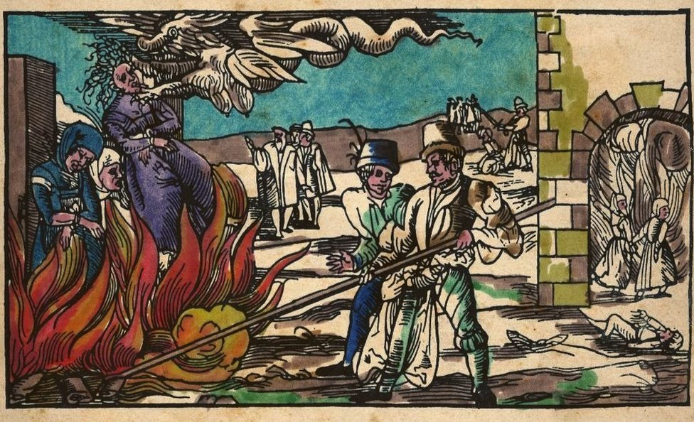 Witches are burned at the stake in this German illustration from the 16th Century