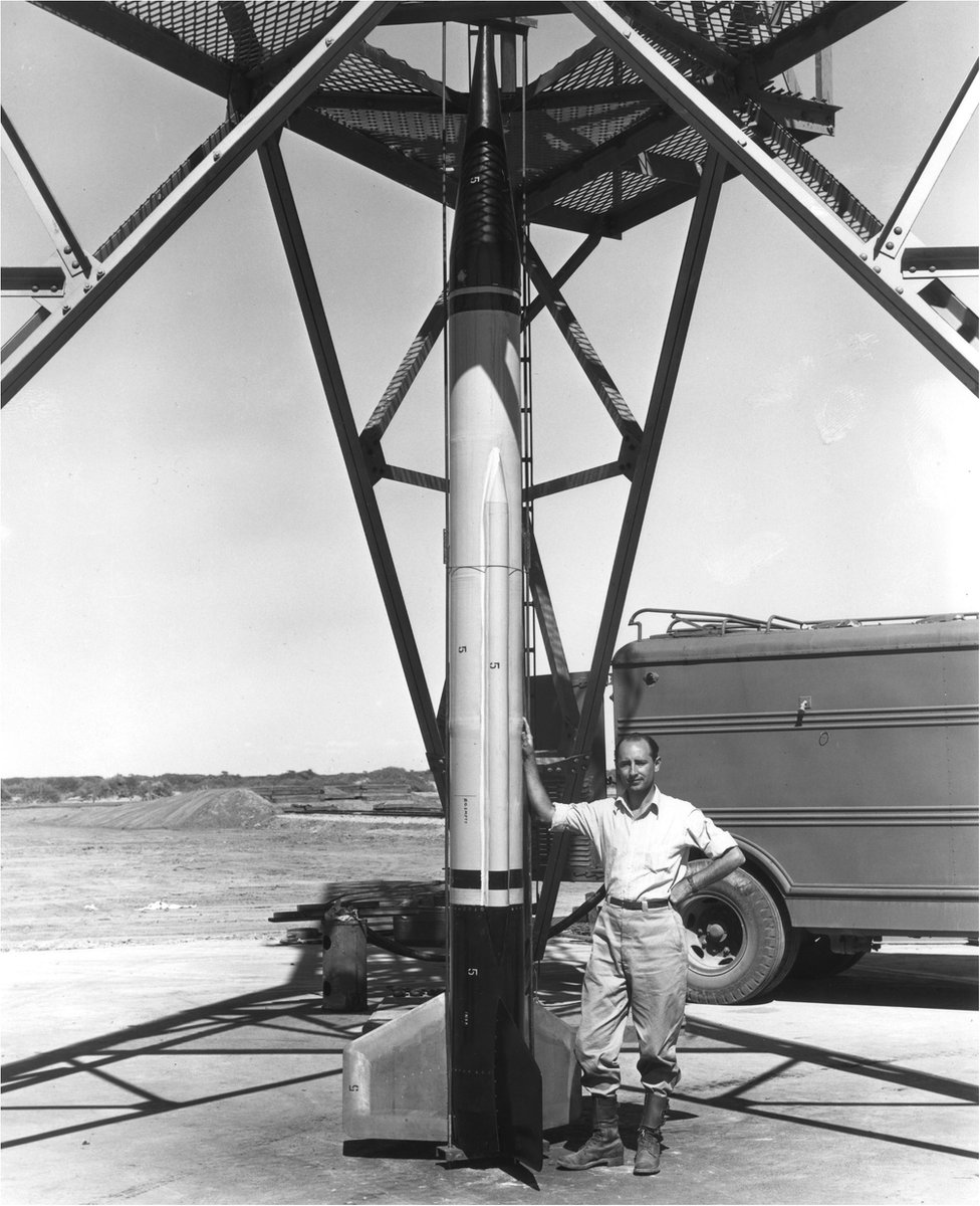 Frank Malina with a missile at the White Sands missile range, New Mexico, in 1946