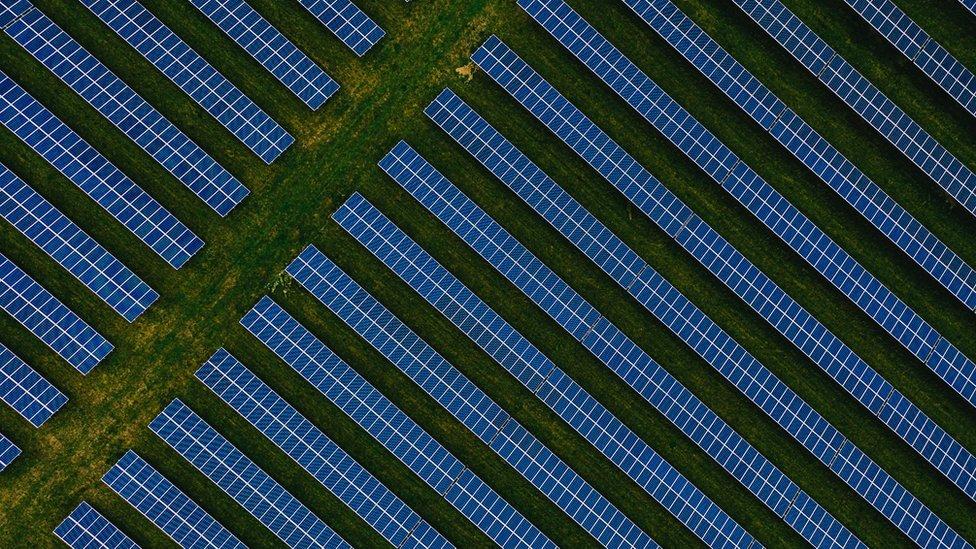 Aerial view of solar panel farm