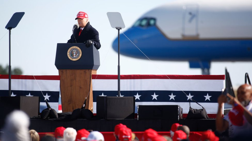 Mr Trump addressed a re-scheduled campaign rally in Fayetteville Regional Airport, North Carolina
