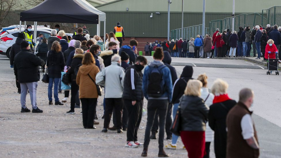 Queues outside a Liverpool testing site
